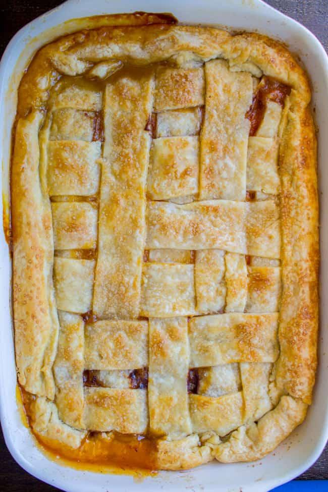 Overhead of lattice crust on apricot pie recipe