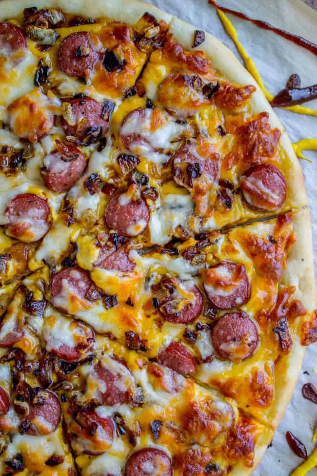 Leftover Hot Dog Pizza with Caramelized Onions from The Food Charlatan