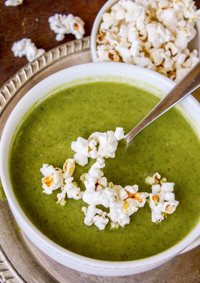 Creamy Zucchini Soup with Popcorn Garnish from The Food Charlatan