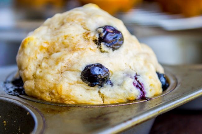 Blueberry Buttermilk Pancake Muffins with Maple Syrup from The Food Charlatan