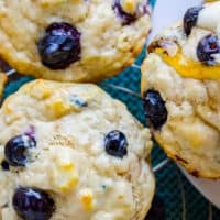 Blueberry Buttermilk Pancake Muffins with Maple Syrup