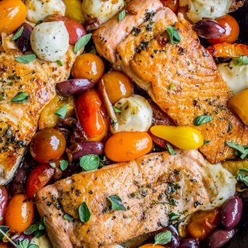 Pan-Seared Salmon with Cherry Tomatoes and Mozzarella (30 Minutes) from The Food Charlatan