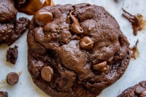 The Best Bakery Style Double Chocolate Chip Cookies