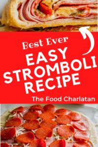 easy stromboli recipe with pepperoni, salami, ham, and mozzarella on pizza dough