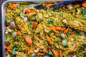 Sheet Pan Curry Chicken and Carrots with Basmati Rice (Biryani)