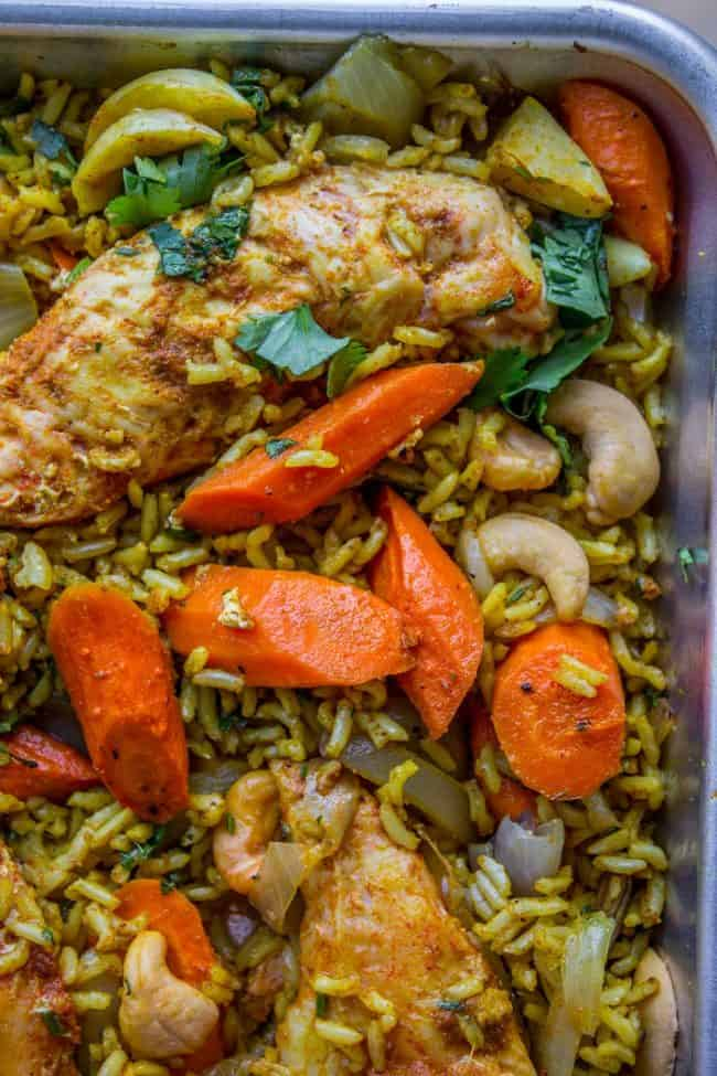 Sheet Pan Curry Chicken and Carrots with Basmati Rice (Biryani) from The Food Charlatan