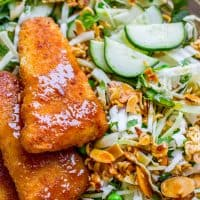 Crunchy Asian Cabbage Salad with Crispy Fish