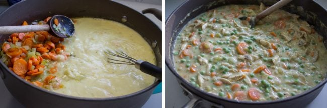 Mixing chicken pot pie filling