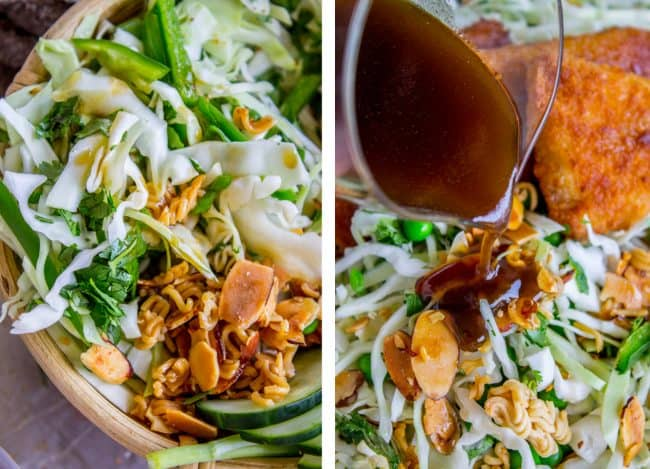 Crunchy Asian Cabbage Salad with Crispy Fish from The Food Charlatan