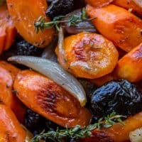 Apple Cider Roasted Carrots with Plums