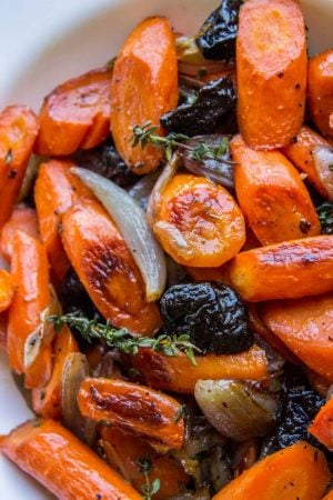 Apple Cider Roasted Carrots with Plums from The Food Charlatan