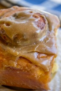 Pumpkin Cinnamon Rolls with Caramel Cream Cheese Frosting from The Food Charlatan