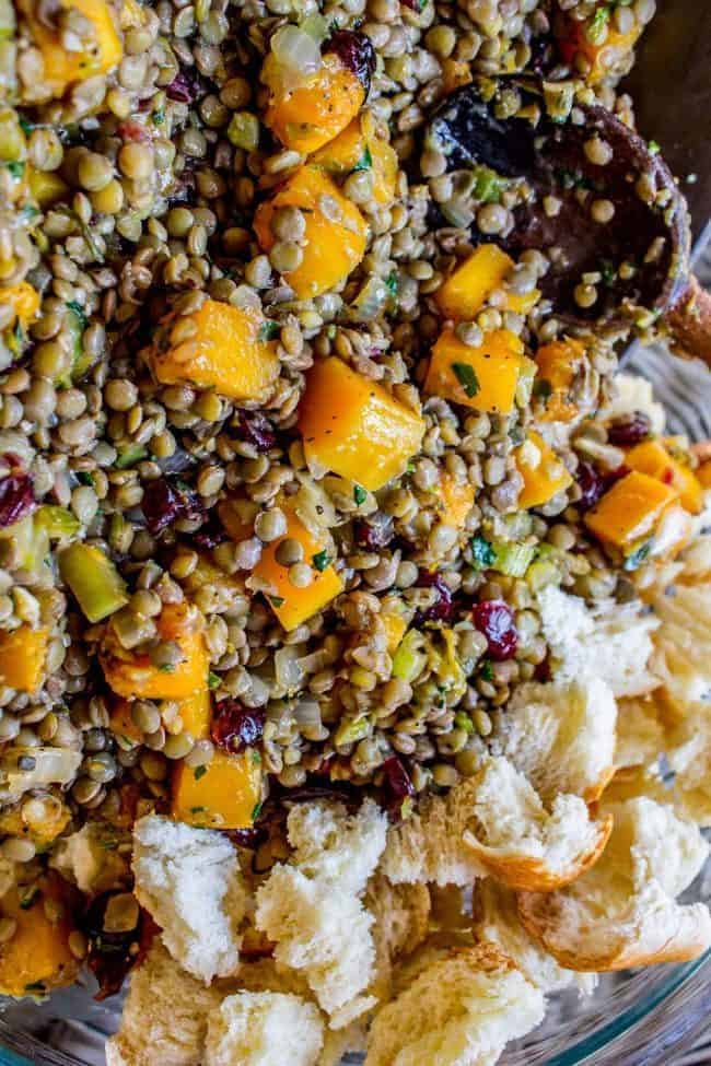 Butternut Squash, Cranberry, and Lentil Stuffing from The Food Charlatan