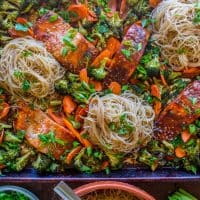 Sheet Pan Asian Salmon with Broccoli, Carrots, and Rice Noodles