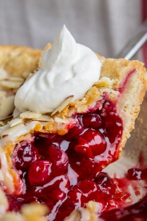 Cranberry Cherry Pie with almonds