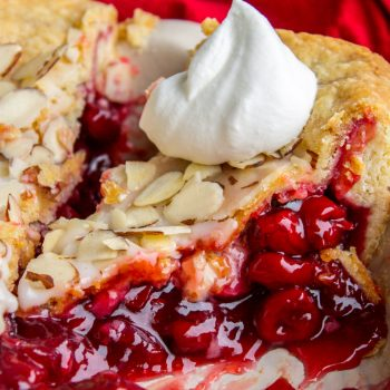 Cranberry Cherry Pie with Almond Glaze from The Food Charlatan
