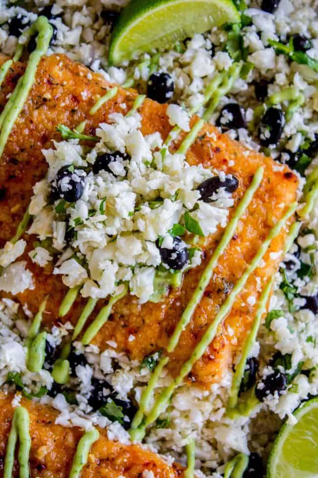 Salmon with cauliflower rice