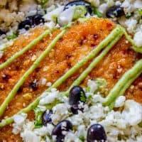 Sheet Pan Honey Chipotle Crusted Salmon with Cauliflower Rice