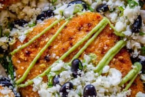 Sheet Pan Honey Chipotle Crusted Salmon with Cauliflower Rice