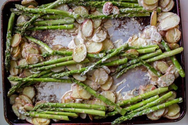 Sheet pan asparagus and potato bake