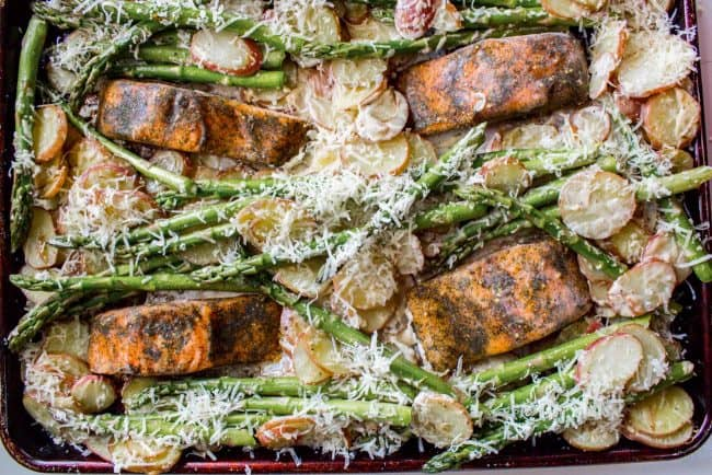 Sheet pan salmon with roasted asparagus and potatoes