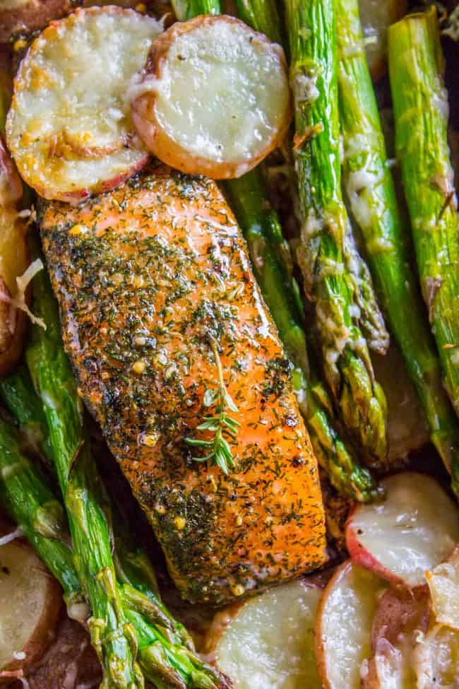 Overhead shot of roasted salmon with potatoes and asparagus