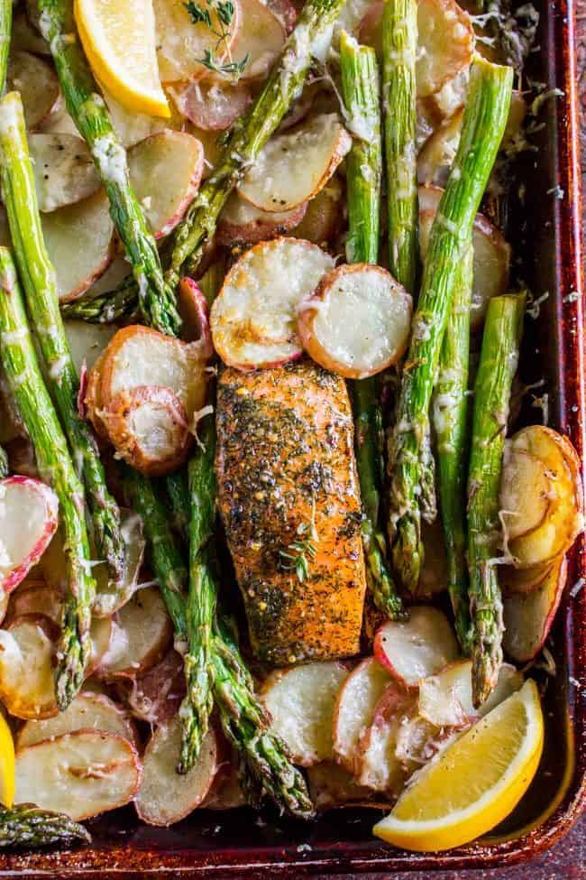 Overhead shot of healthy salmon dinner with asparagus and potatoes