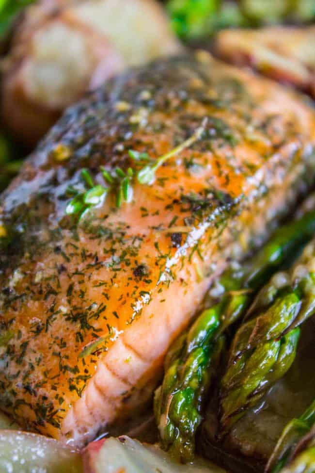 close up of easy salmon recipe with potatoes and asparagus