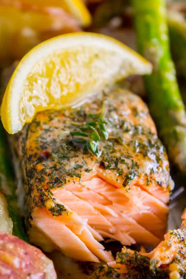Healthy sheet pan salmon recipe that is flaky.