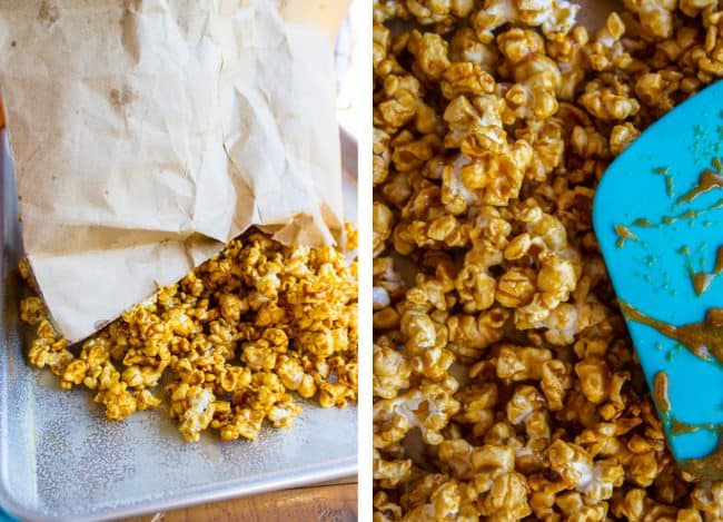Spreading out freshly mixed popcorn