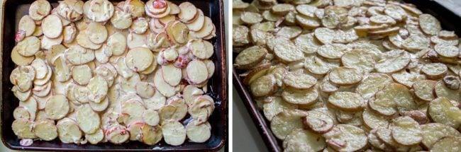 Sheet pan potatoes with cream