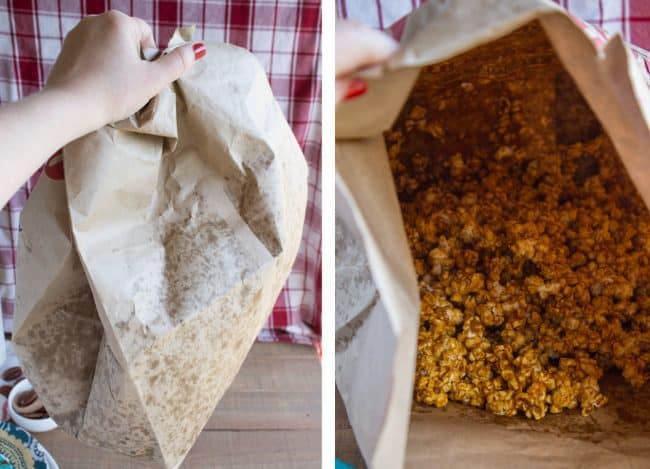 Paper bag with mixed caramel corn inside