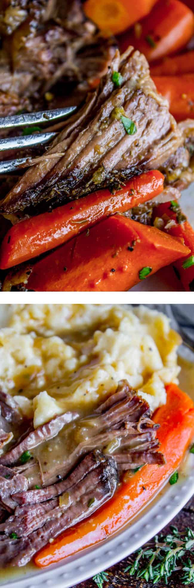 Pot roast crock pot with carrots and mashed potatoes