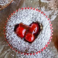Cheesecake Filled Chocolate Cupcakes with Cherry Hearts