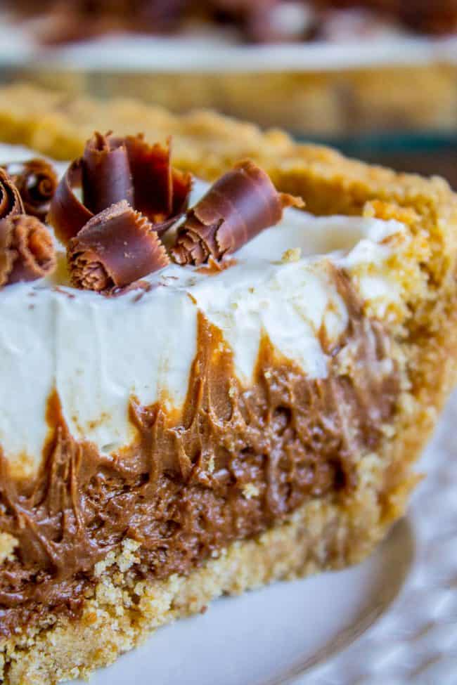 Sliced piece of French Silk Pie with Graham Cracker Crust