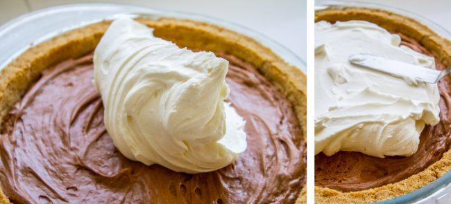 whipped cream on chocolate pie