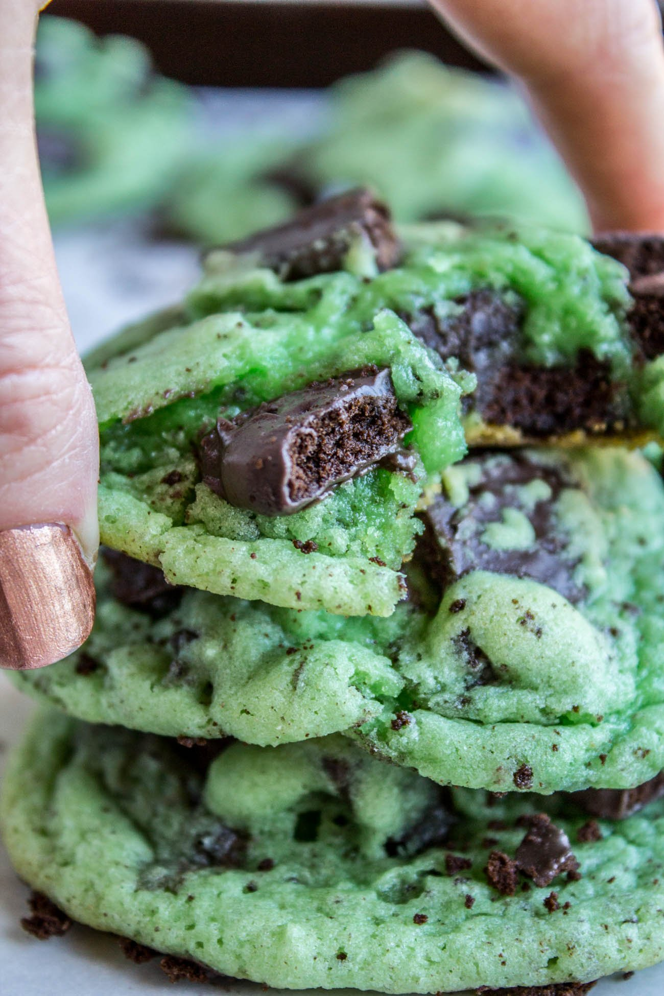 stack of green mint cookies stuffed with thin mints