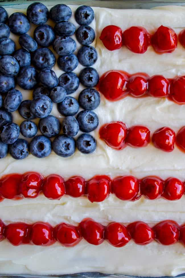 patriotic flag cake with cherries