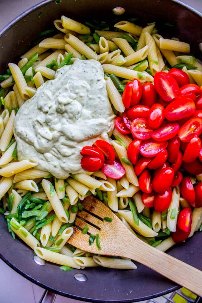 penne pesto with cherry tomatoes