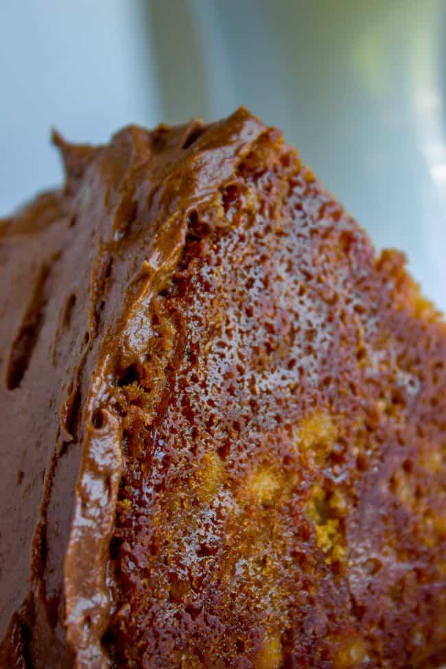 slice of brown sugar yellow cake