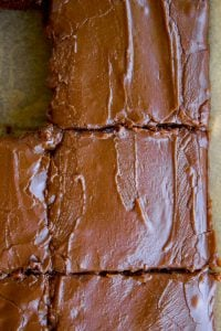 Close up of two slices of chocolate Texas sheet cake