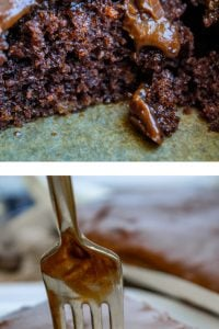 Close up of two slices of chocolate Texas sheet cake as top image. Bottom image is a fork sunk into a slice