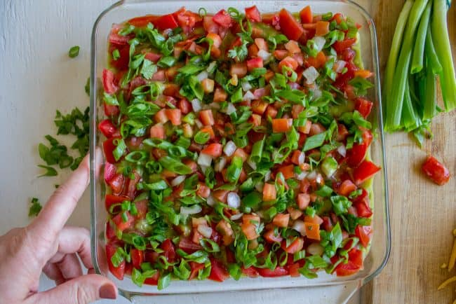 seven layer dip with onions