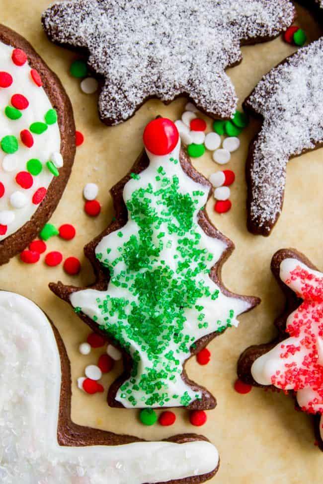 chocolate sugar cookies for Christmas