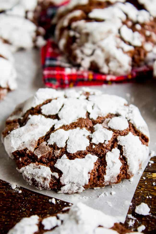chocolate crinkle cookie on parchment paper