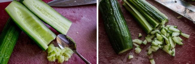 Scraping inside out of cucumbers and chopping