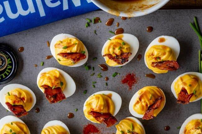 huevos rellenos de mostaza