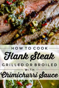 herb-infused marinade over grilled beef flank steak