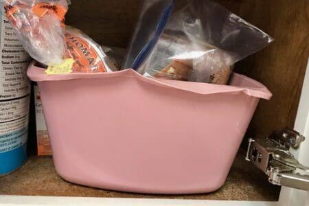 Bread in a basket in cupbard