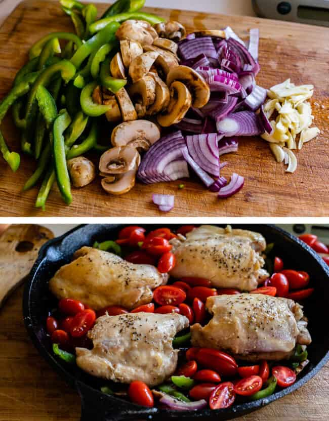 Chopped veggies and chicken in pan